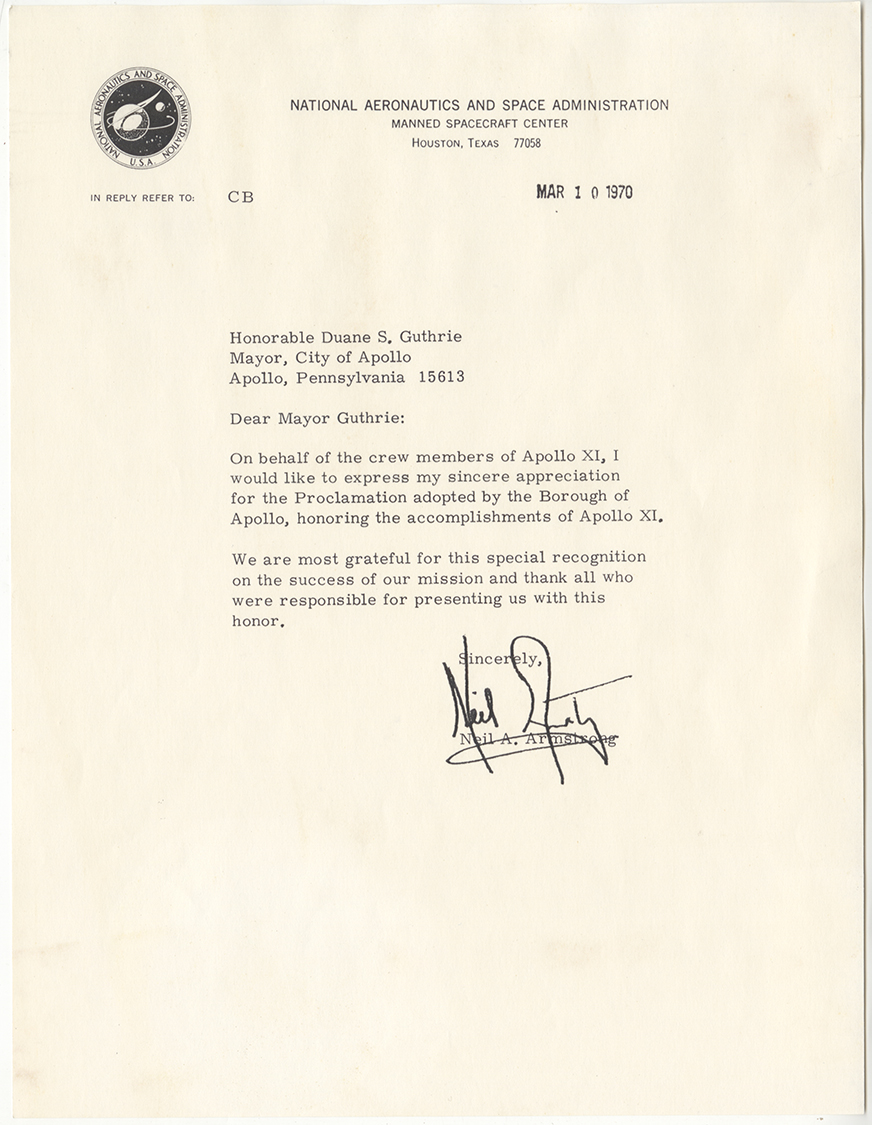 Neil Armstrong letter thanking the mayor of Apollo for Apollo 11 Proclamation, 1970.