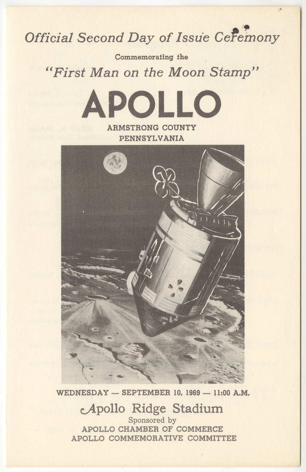 "Program from ""First Man on the Moon"" launch, 1969."