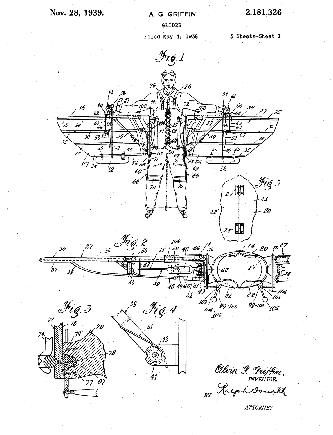 A.G. Griffin Glider Patent, May 4, 1938.