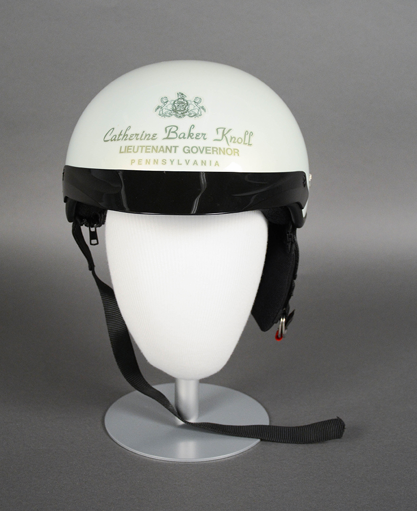 Catherine Baker Knoll's motorcycle helmet. Knoll was a supporter of A.B.A.T.E., the Alliance of Bikers Aimed Toward Education.