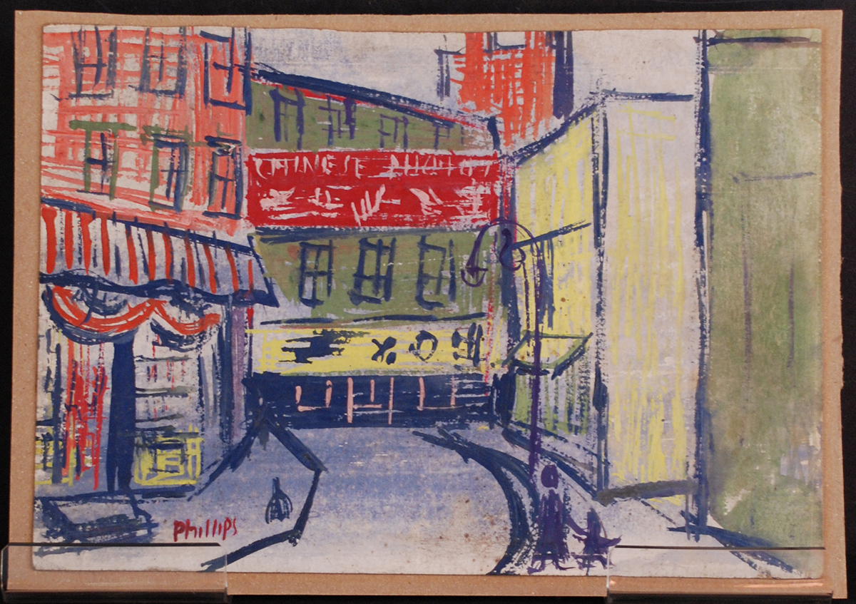 Esther Phillips, street scene, tempera on paper, 1930s. Heinz History Center museum collection. Gift of the Estate of Sibyl Barsky Grucci.