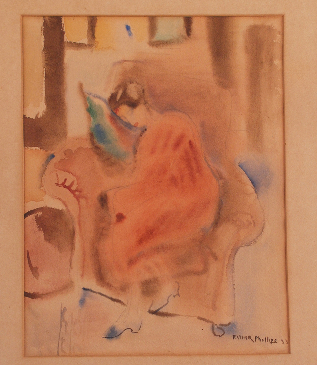 Esther Phillips, woman sleeping in a chair, watercolor on paper, 1933. Heinz History Center museum collection. Gift of the Estate of Sibyl Barsky Grucci.