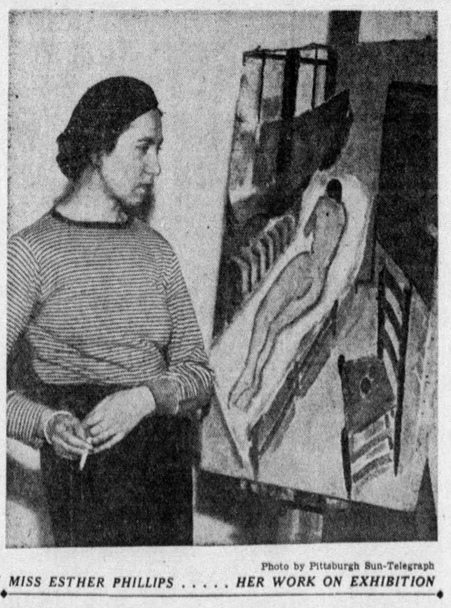Esther Phillips pictured in a news photo, Pittsburgh Sun Telegraph, December 3, 1933.