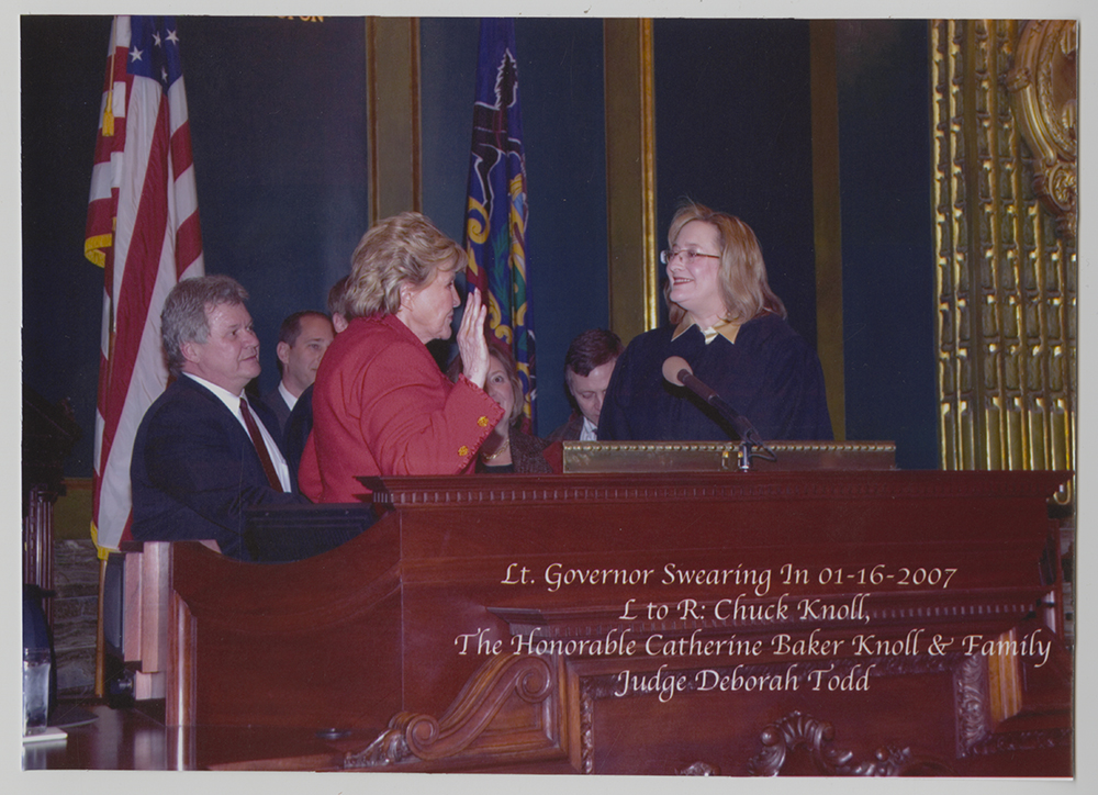 Catherine Baker Knoll during her swearing in ceremony for her second term as Lieutenant Governor in 2007.