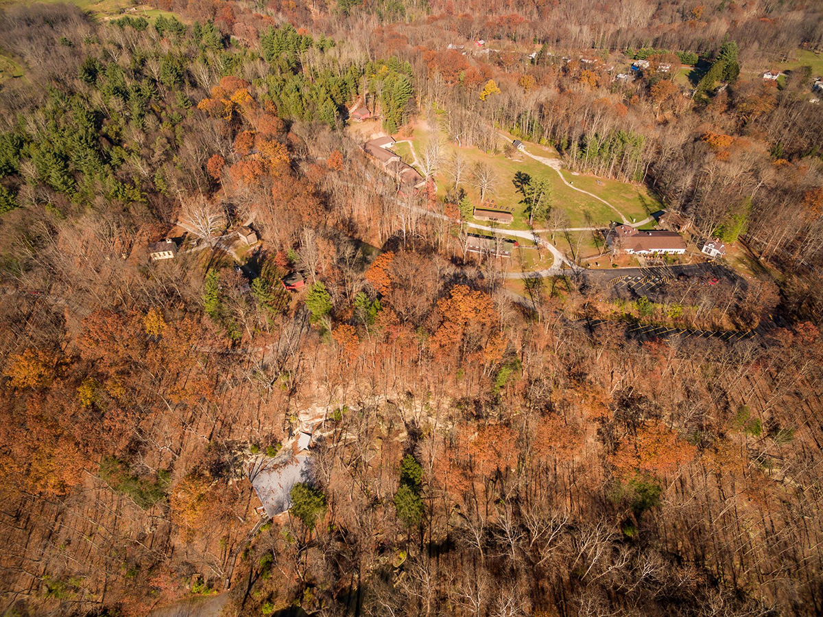 An aerial view of Meadowcroft Rockshelter and Historic Village.