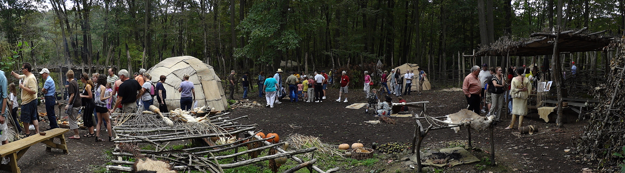 The Monongahela Indian Village during the annual Frontier Heritage Weekend at Meadowcroft.