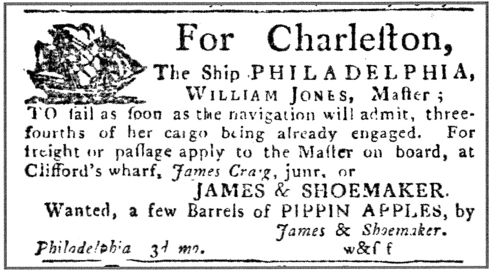 An advertisement in the March 19, 1788 issue of the Pennsylvania Packet requesting Pippin apples.
