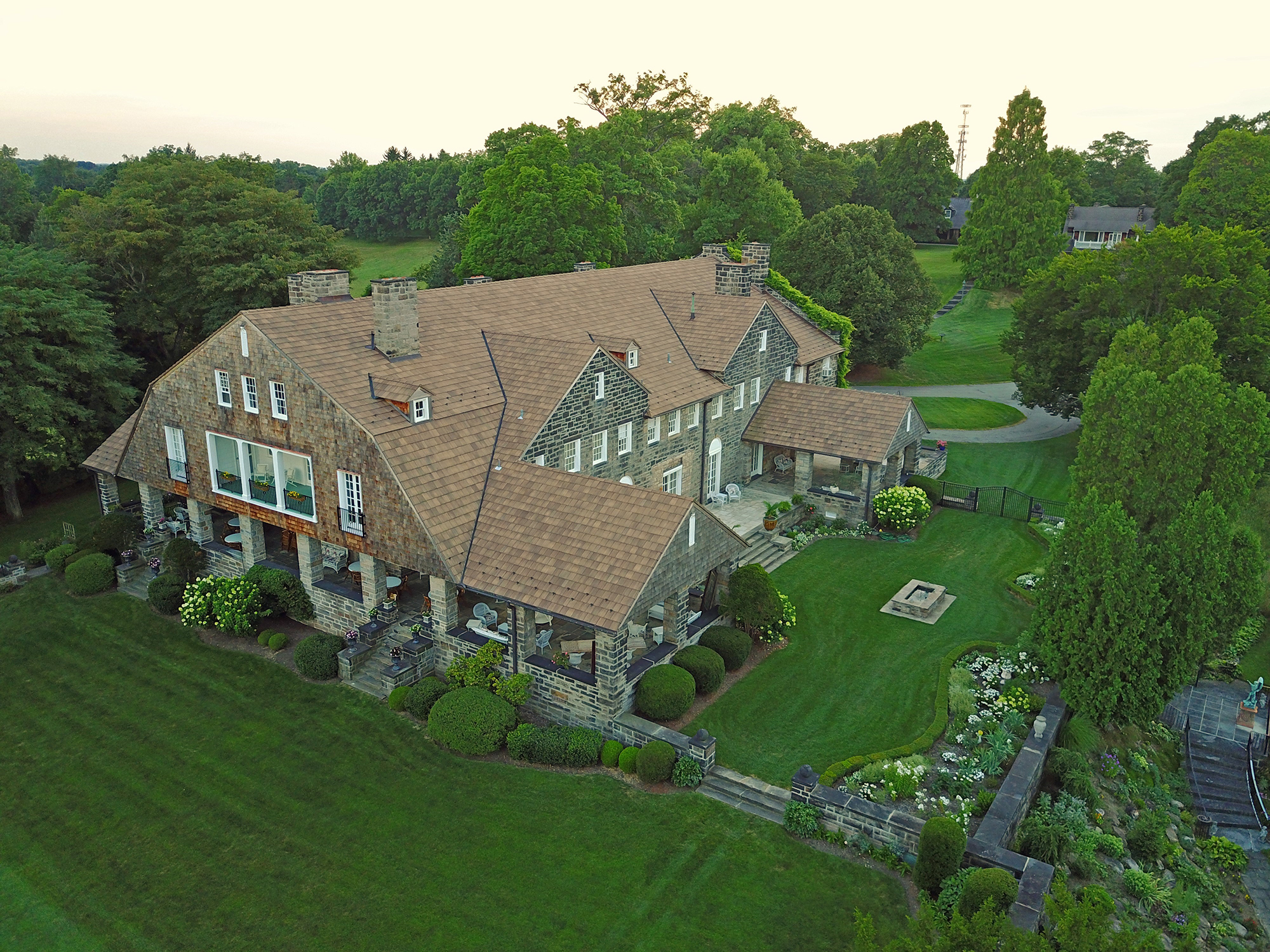 Drone view of Wilpen Hall, Sewickley, Pa.