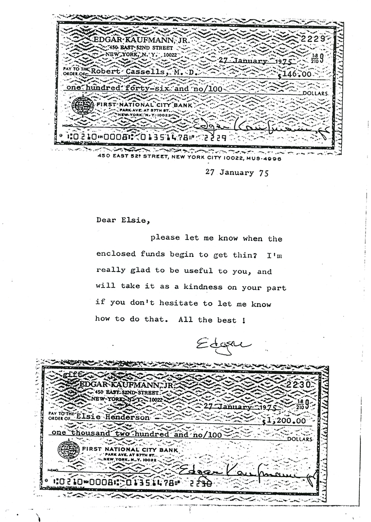 A scan of the checks and short note that Edgar Kaufmann, Jr. sent Elsie Henderson for support after her retirement. Elsie Henderson Papers and Photographs, Detre Library & Archives, Heinz History Center.