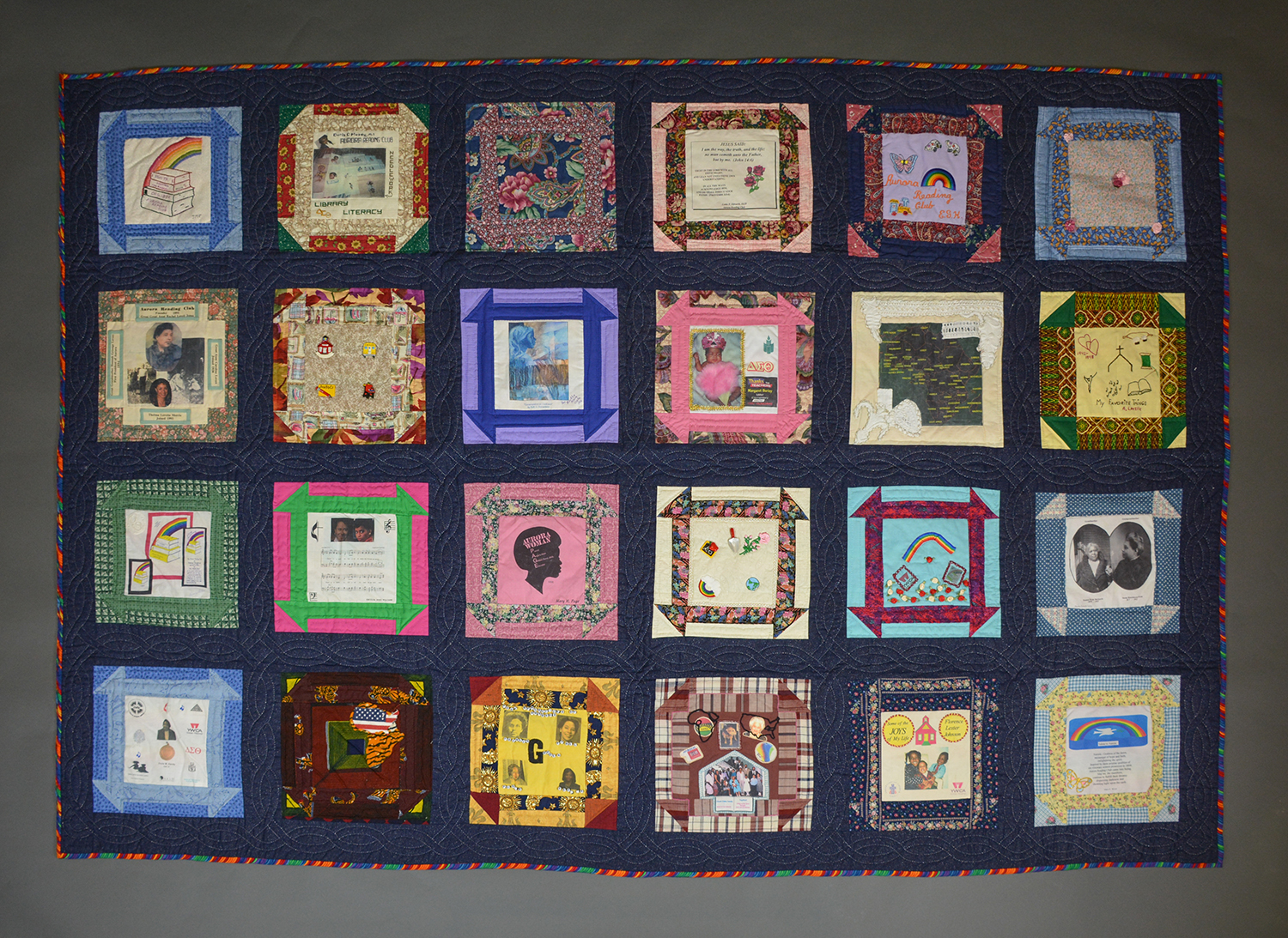 Aurora Reading Club quilt, on display in the Special Collections Gallery.