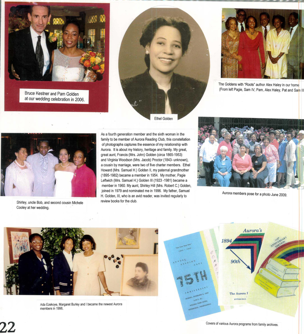 A page from a scrapbook created by the Aurora Reading Club for their 2009-2010 yearbook.