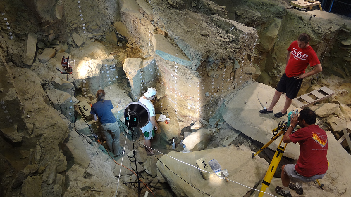 An excavation crew at work in the Rockshelter in 2013. Photo by David Scofield.