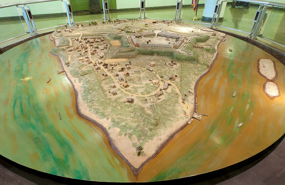 The diorama of the Point at the Fort Pitt Museum.