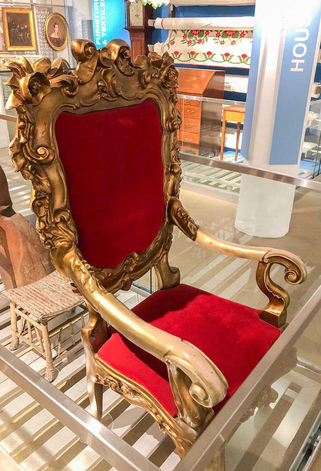 The Santaland chair from Kaufmann's Department Store, on display in Visible Storage.