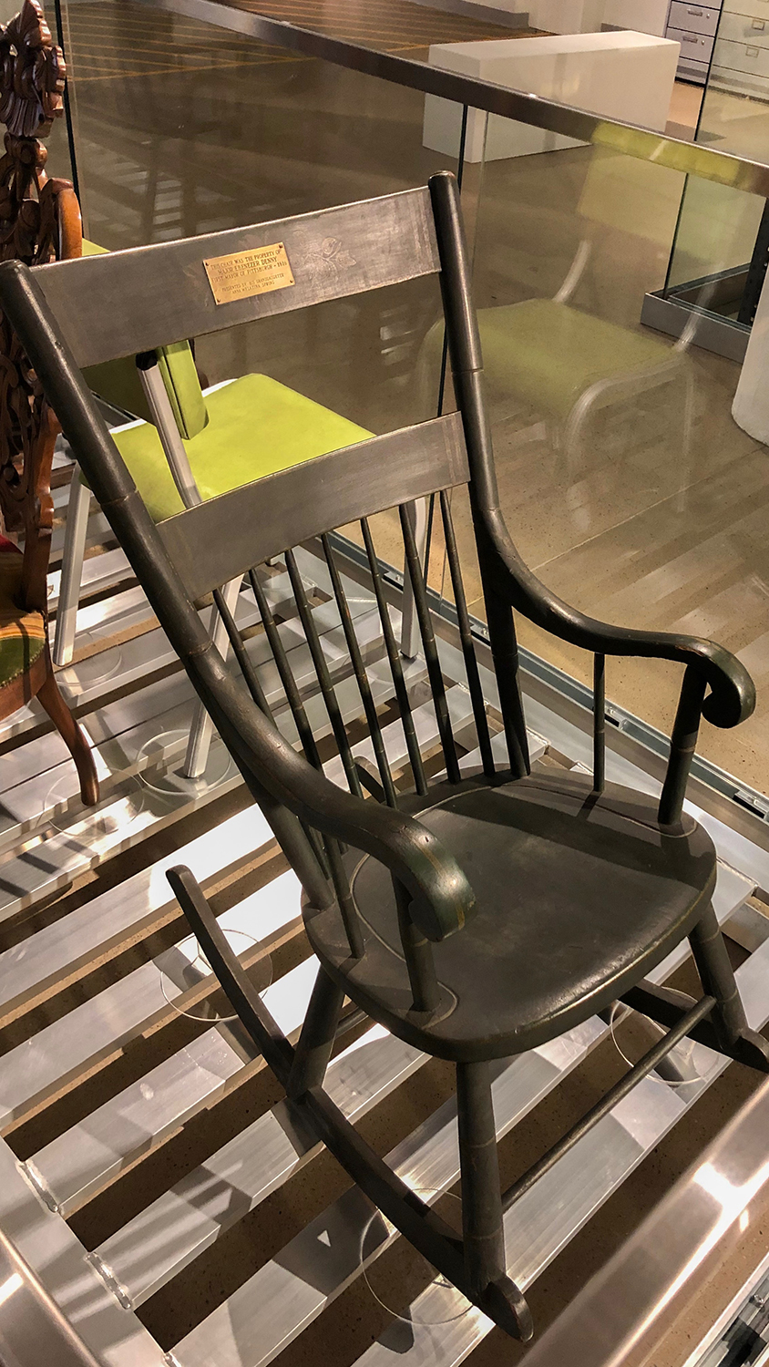 Mayor Ebenezer Denny's rocking chair, on display in Visible Storage.
