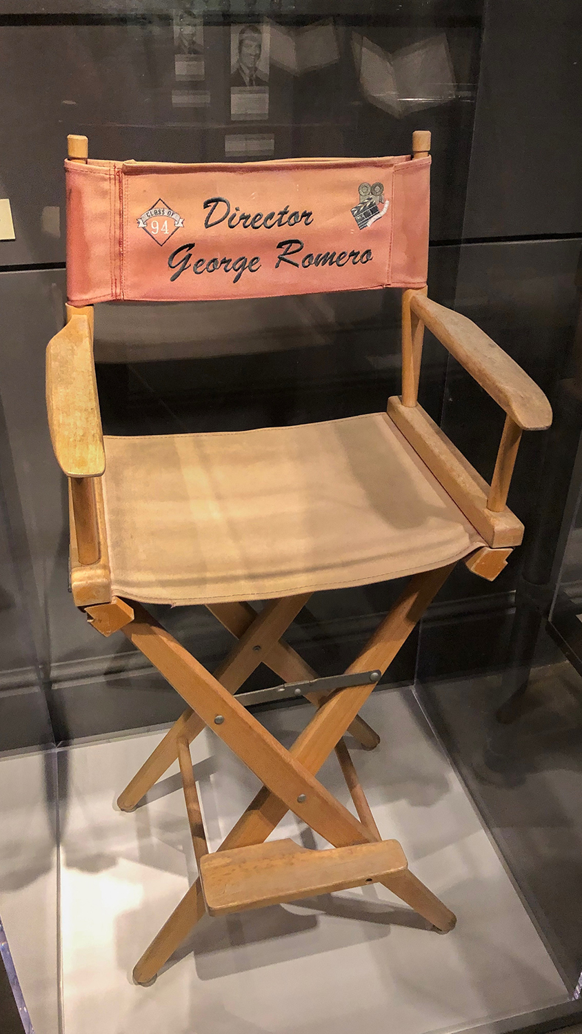 George Romero's director chair, on display in Pittsburgh: A Tradition of Innovation.