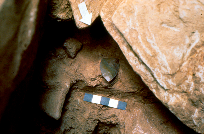 The Miller Point was excavated in 1976 between layers with radiocarbon dates of 10,850 B.C. ± 870 years and 9350 B.C. ± 700 years. Photo by J.M. Adovasio.