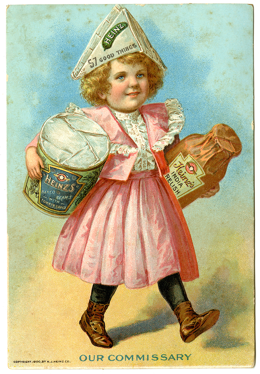Heinz advertising trade cards, c. 1900.