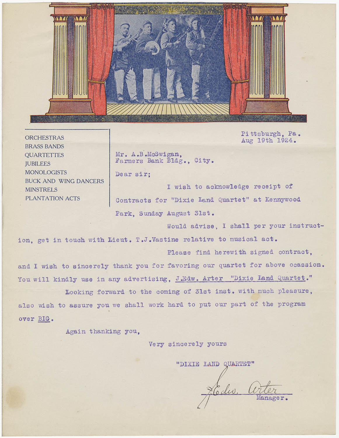 Letter from Penn Diamond Orchestra to Andrew McSwigan, Aug. 29, 1924.