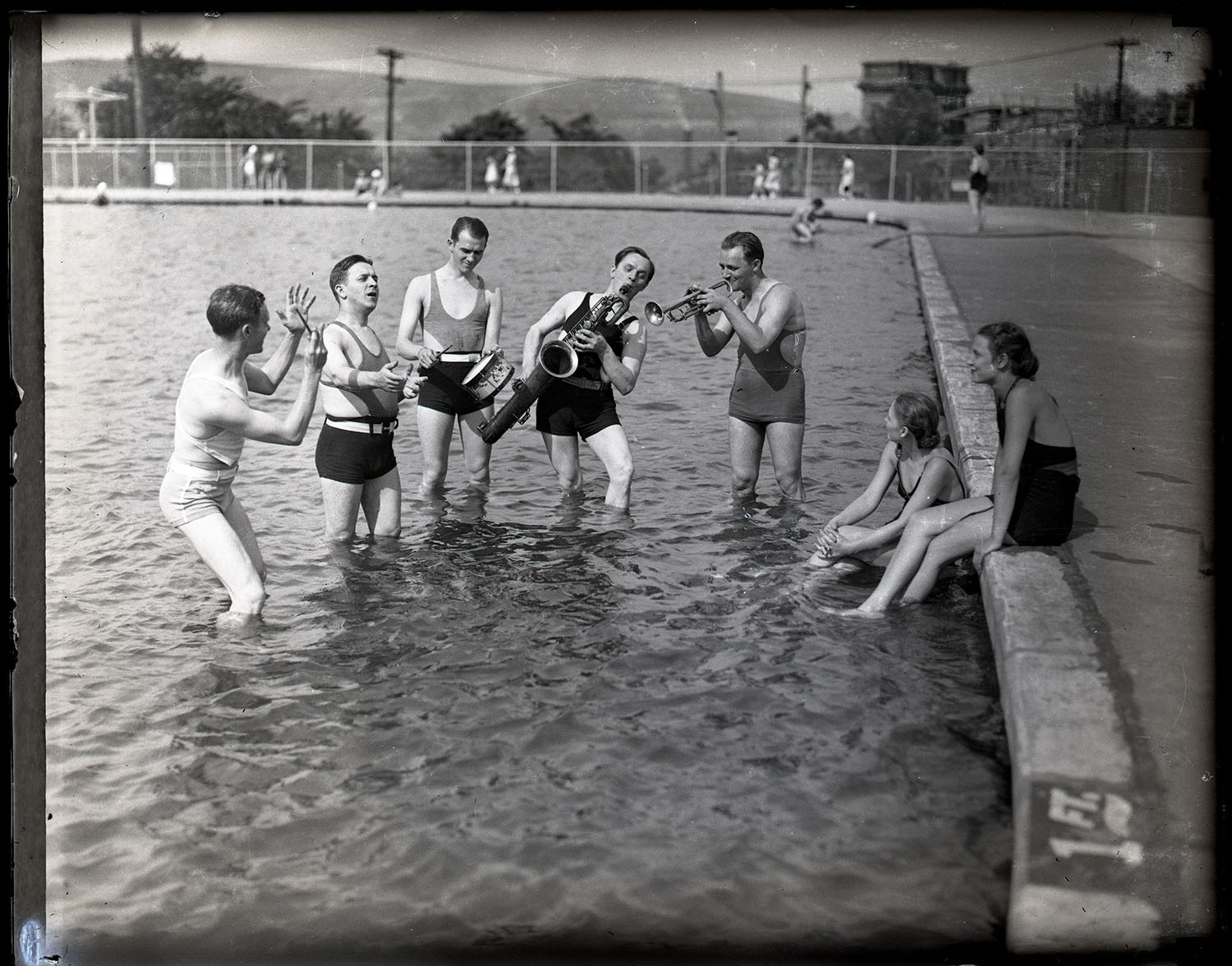 Musicians in the pool, Kennywood Park, 1930s.