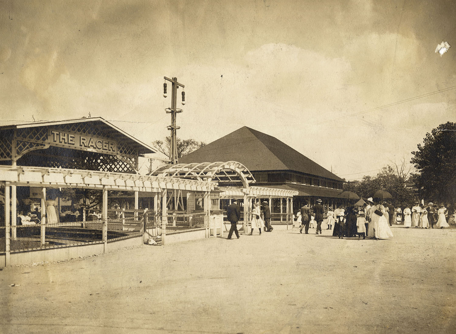 View of the entrance to the Racer, Kennywood Park, 1919.
