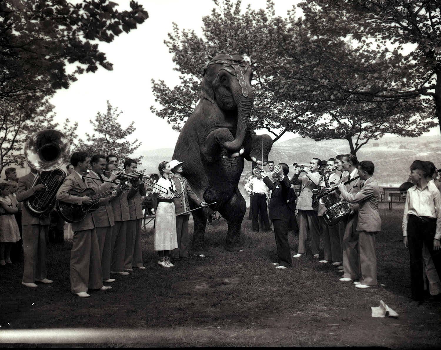 Entertainers at Kennywood Park with an elephant, 1930s.