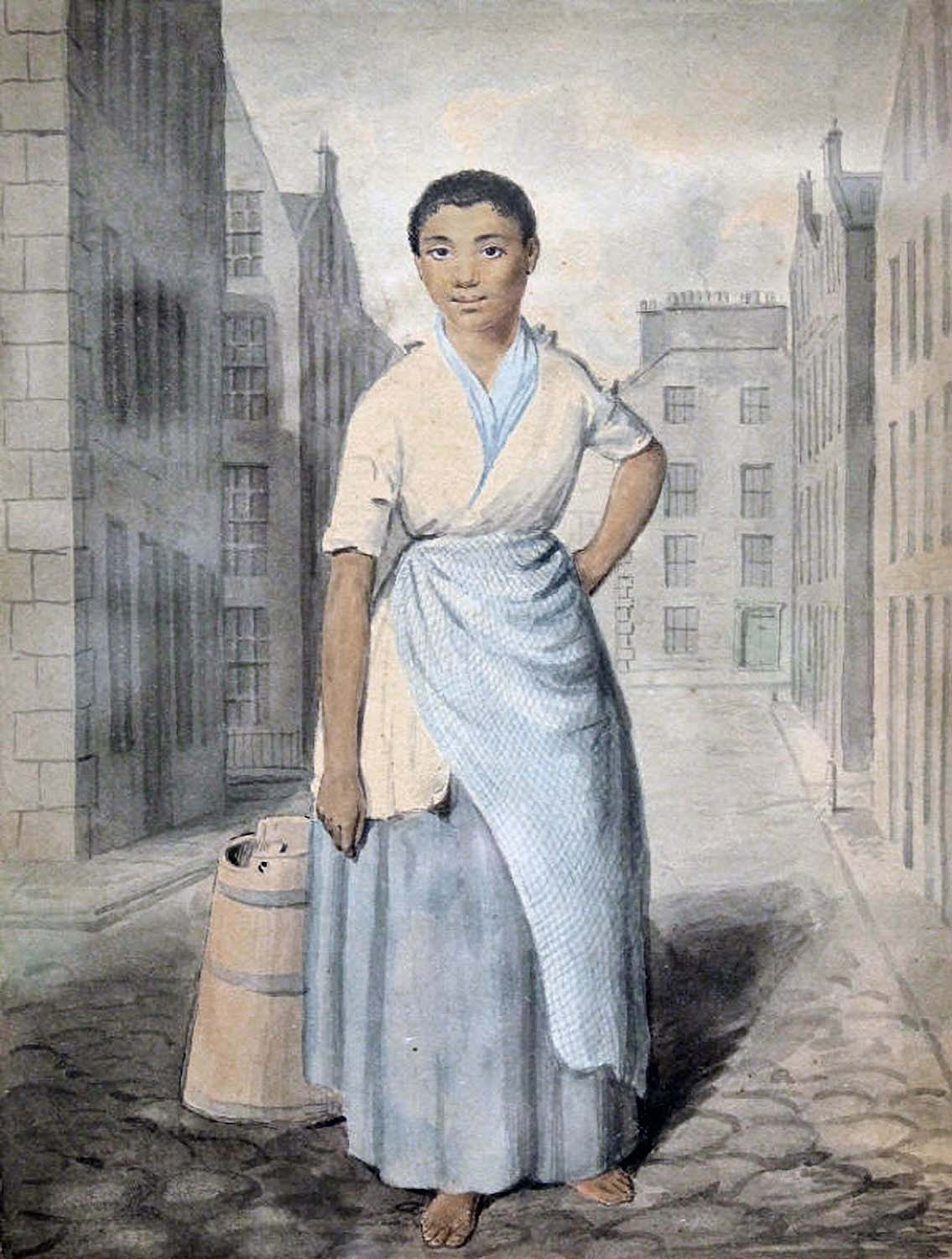 Edinburgh servant standing in a street, attributed to artist David Allan, c. 1780.