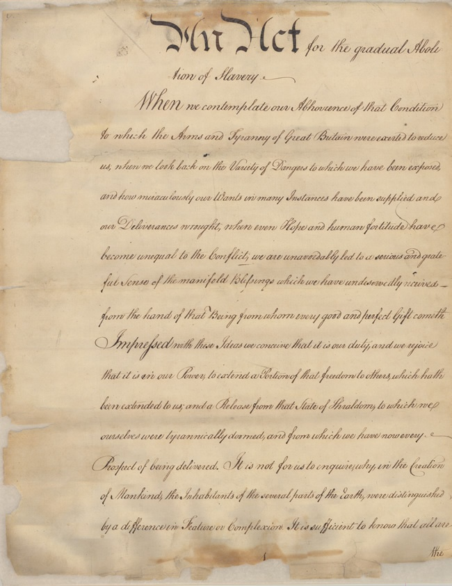 """An Act for the Gradual Abolition of Slavery, 1780. Pennsylvania Historical Museum Commission, Record Group 26: Records of the Department of State, Engrossed Laws. 14 pages, 19""""X15"""", iron gall ink on paper."""