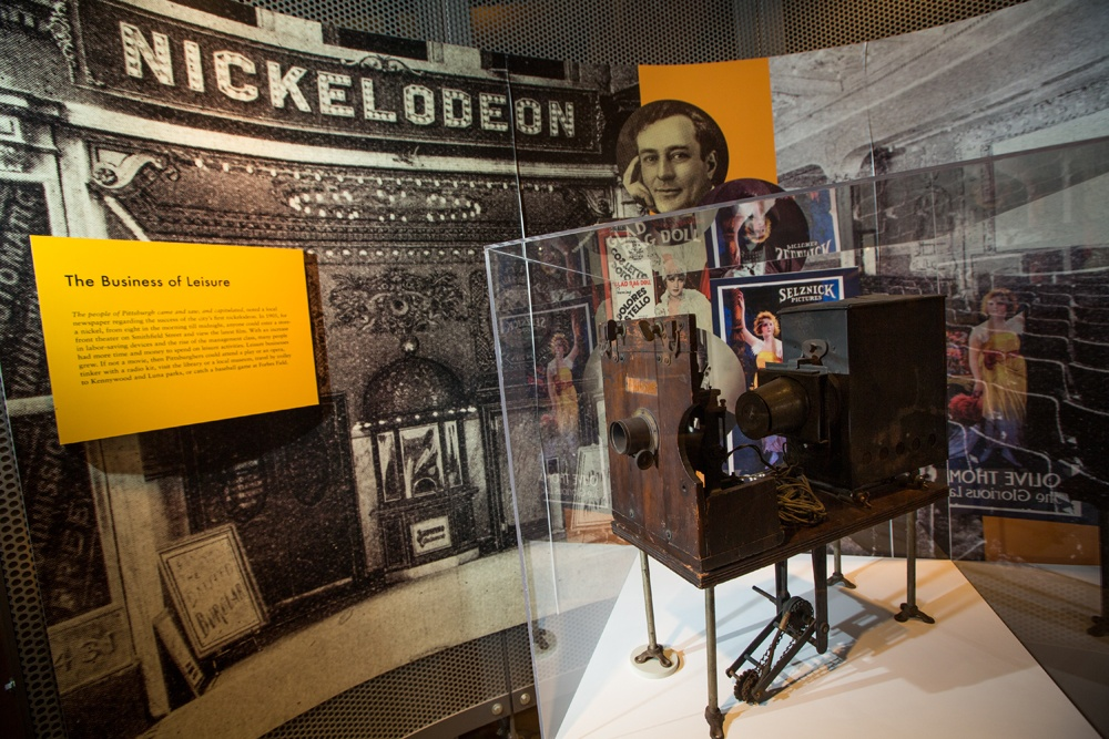 Nickelodeon movie projector on display in the History Center's Pittsburgh: A Tradition of Innovation exhibition. Gift of Eugene Lemoyne Connelly. Photo by Annie O'Neill.