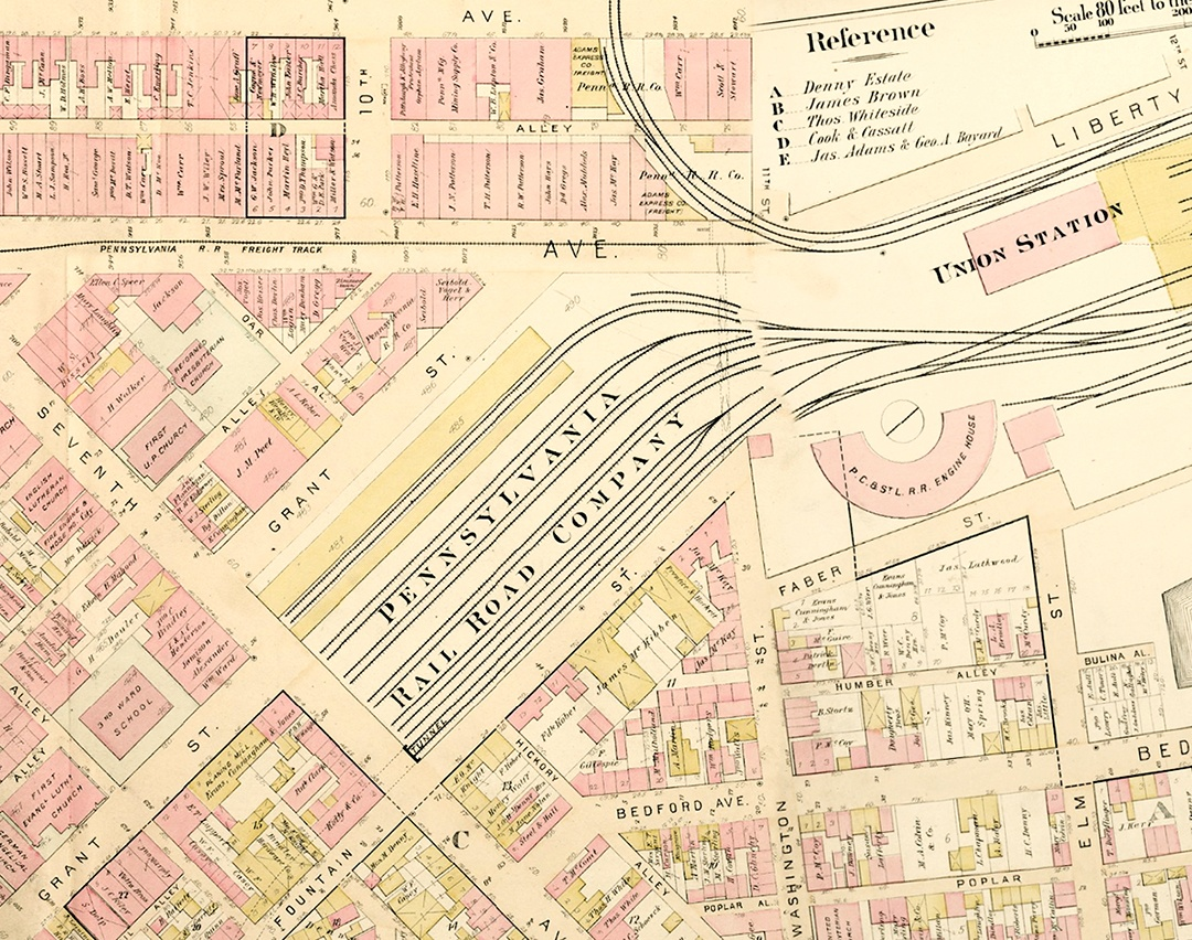 Just five years later, this 1889 map shows that rail lines have taken over Grant Street, which had to zigzag to what became New Grant Street. University of Pittsburgh, G.M. Hopkins Company Maps Collection.