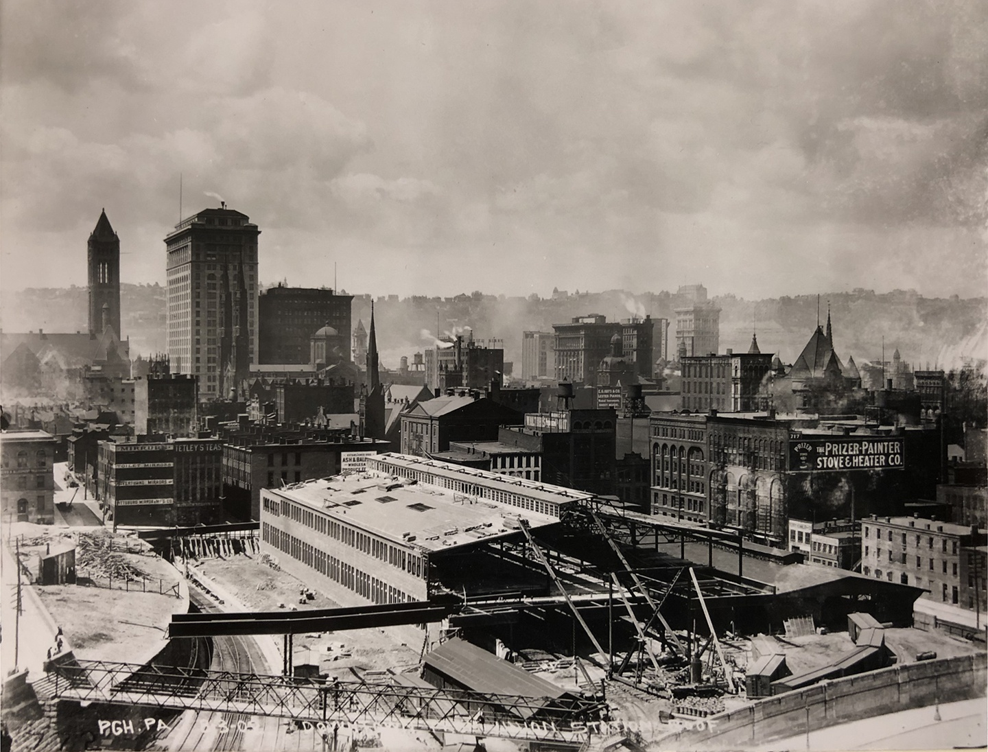 In 1902, as the new PRR passenger station neared completion (where it remains today), an even larger freight terminal was being built atop the former Grant Street. Carnegie Library of Pittsburgh, Pennsylvania Room, BR-131.