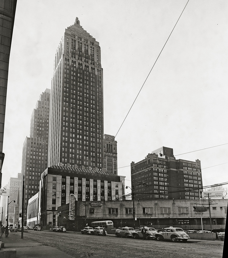 Looking west on Grant Street, mid-1950s, to the Greyhound Bus Terminal.