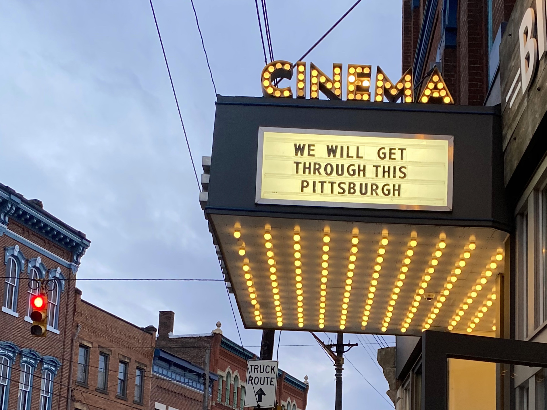 """We will get through this Pittsburgh."" Photo by Carly Lough. Detre Library & Archives at the History Center."