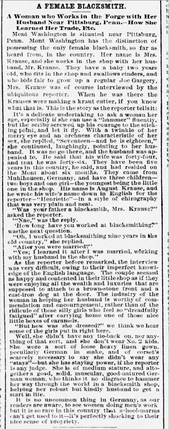Article published in the Boston Globe, Boston, Massachusetts, October 28, 1877, is the only article with an interview of Henrietta Krause.