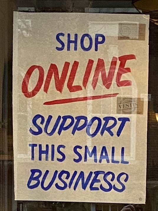 """Shop Online. Support This Small Business."" Photo by Carly Lough. Detre Library & Archives at the History Center."