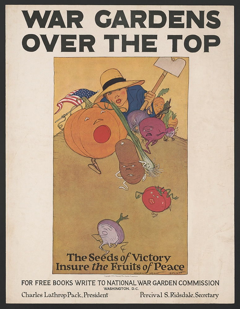 War gardens over the top. Poster by Maginel Wright Enright, National War Garden Commission, 1919.