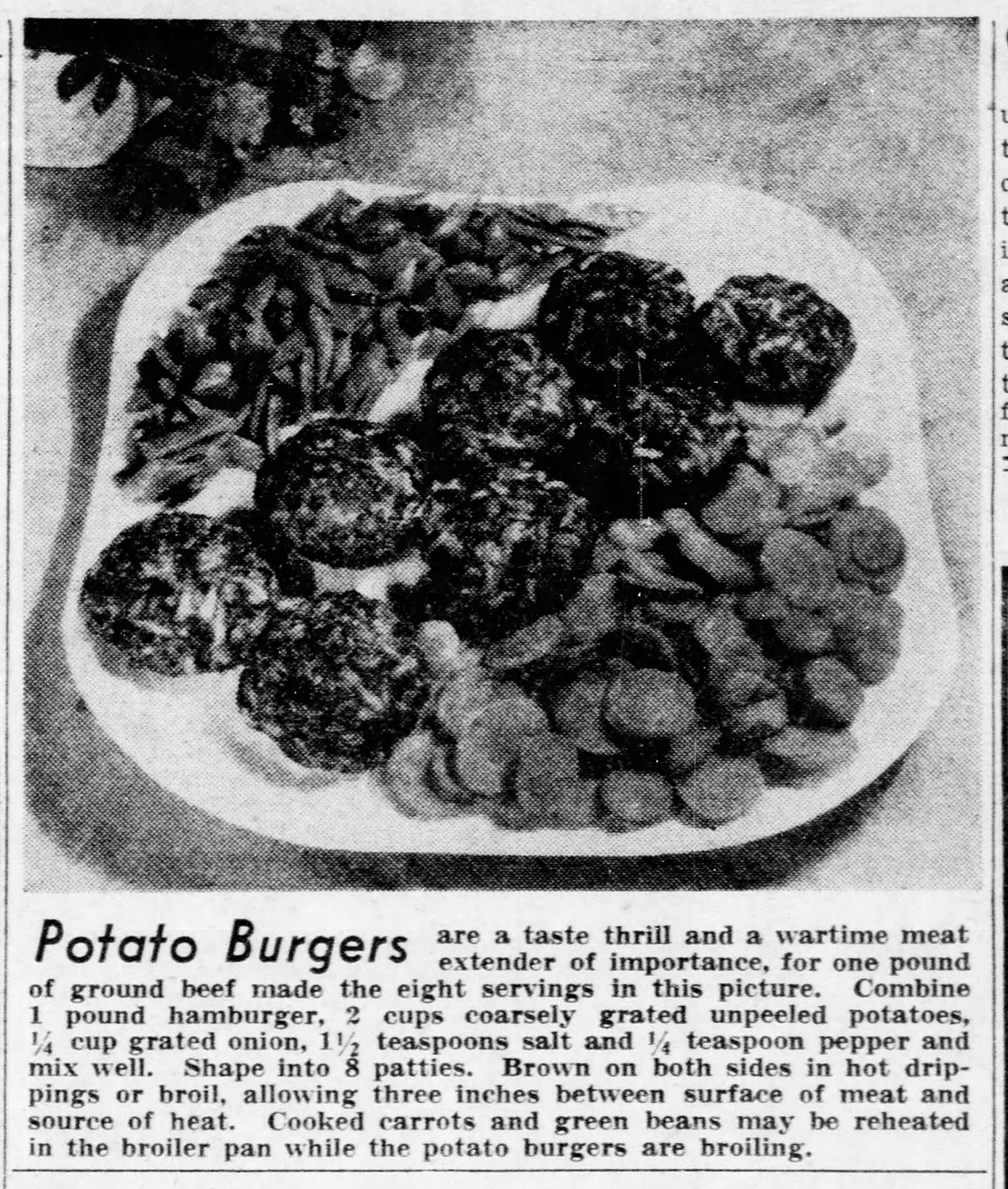 Recipe for meat-extending Potato Burgers, 1944.