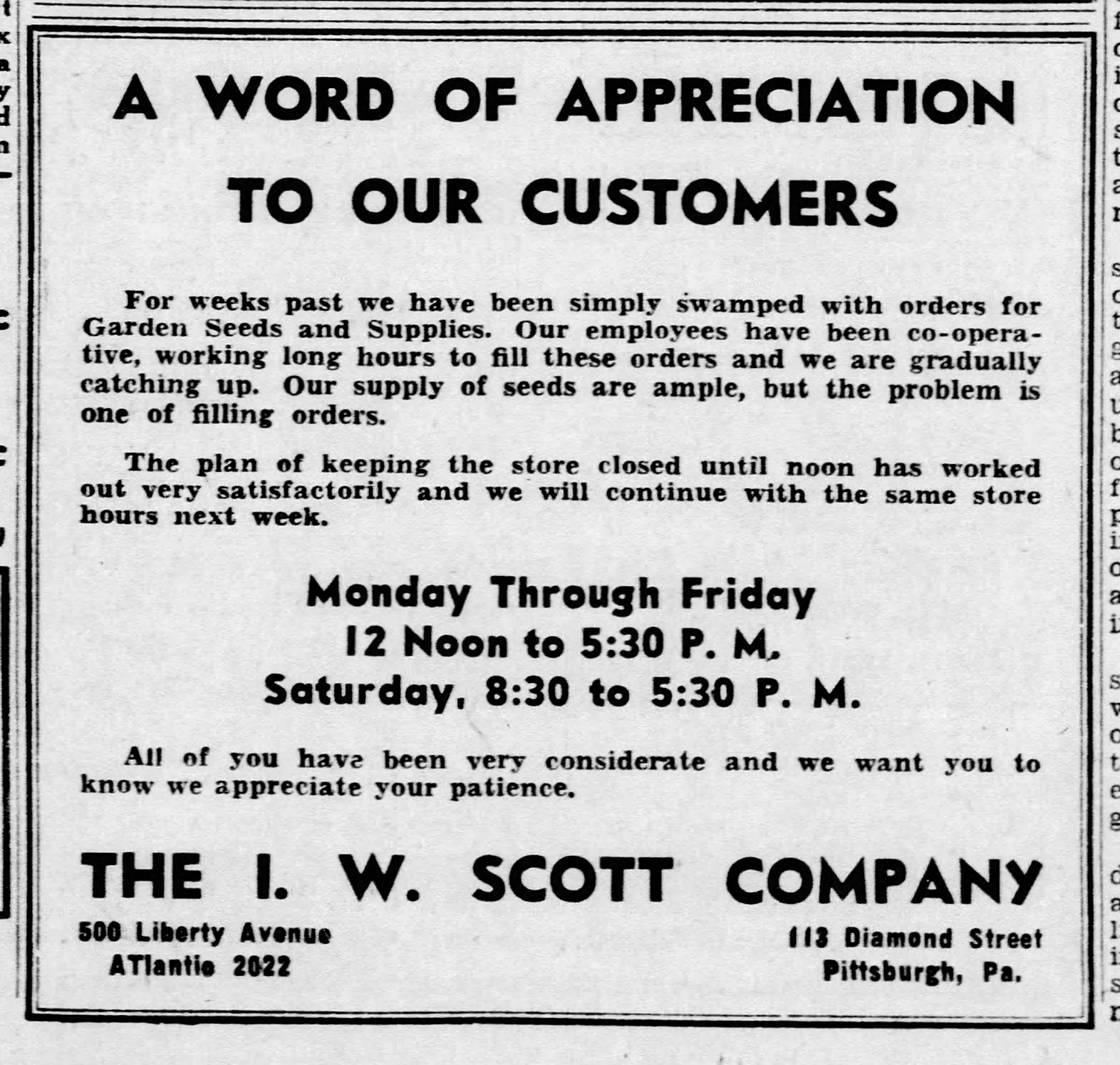 A Word of Appreciation to our Customers, advertisement, The I. W. Scott Company, Pittsburgh, April 1943.