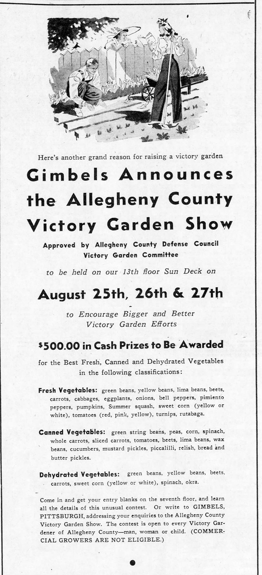 Gimbels advertisement for the Allegheny County Victory Garden Show, May 1943.