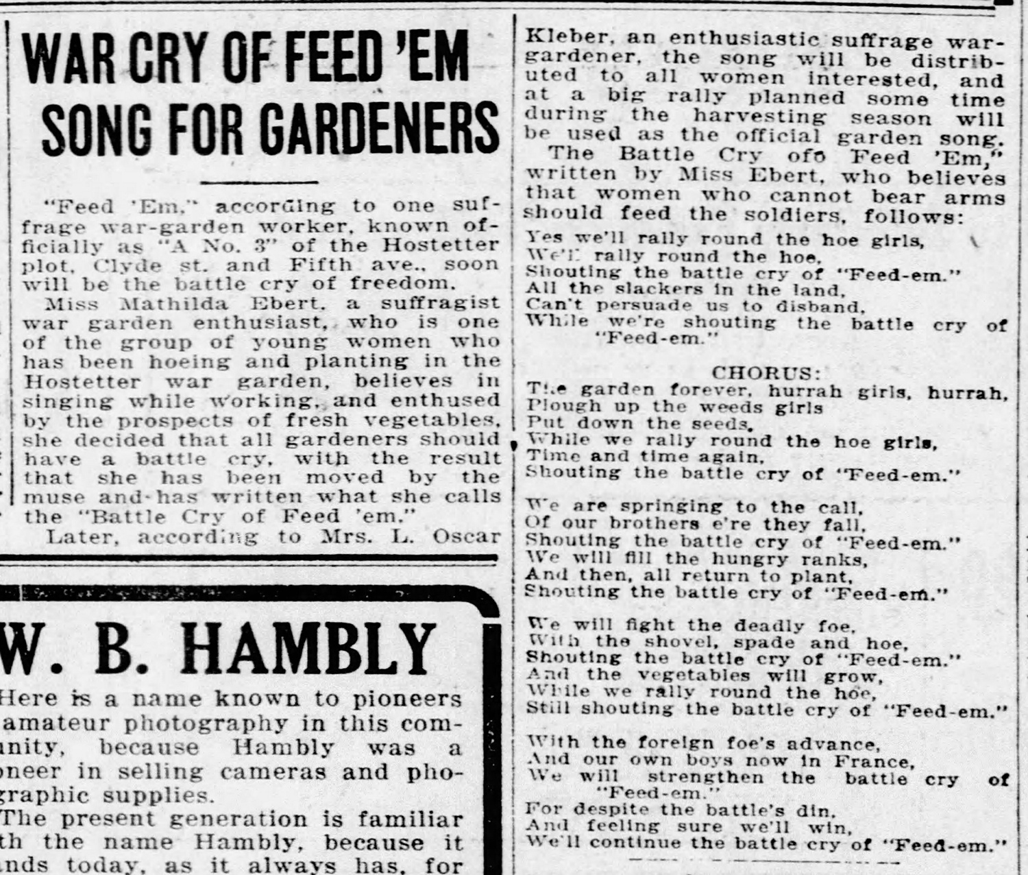 """""""War Cry of Feed 'Em,"""" news clipping about a war-garden suffrage supporter's """"battle cry"""" song, set to the """"Battle Cry of Freedom,"""" 1917."""