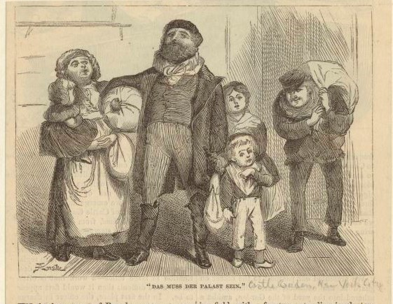 Engraving of a German family arriving in New York City, 1871. New York Public Library Digital Collections.