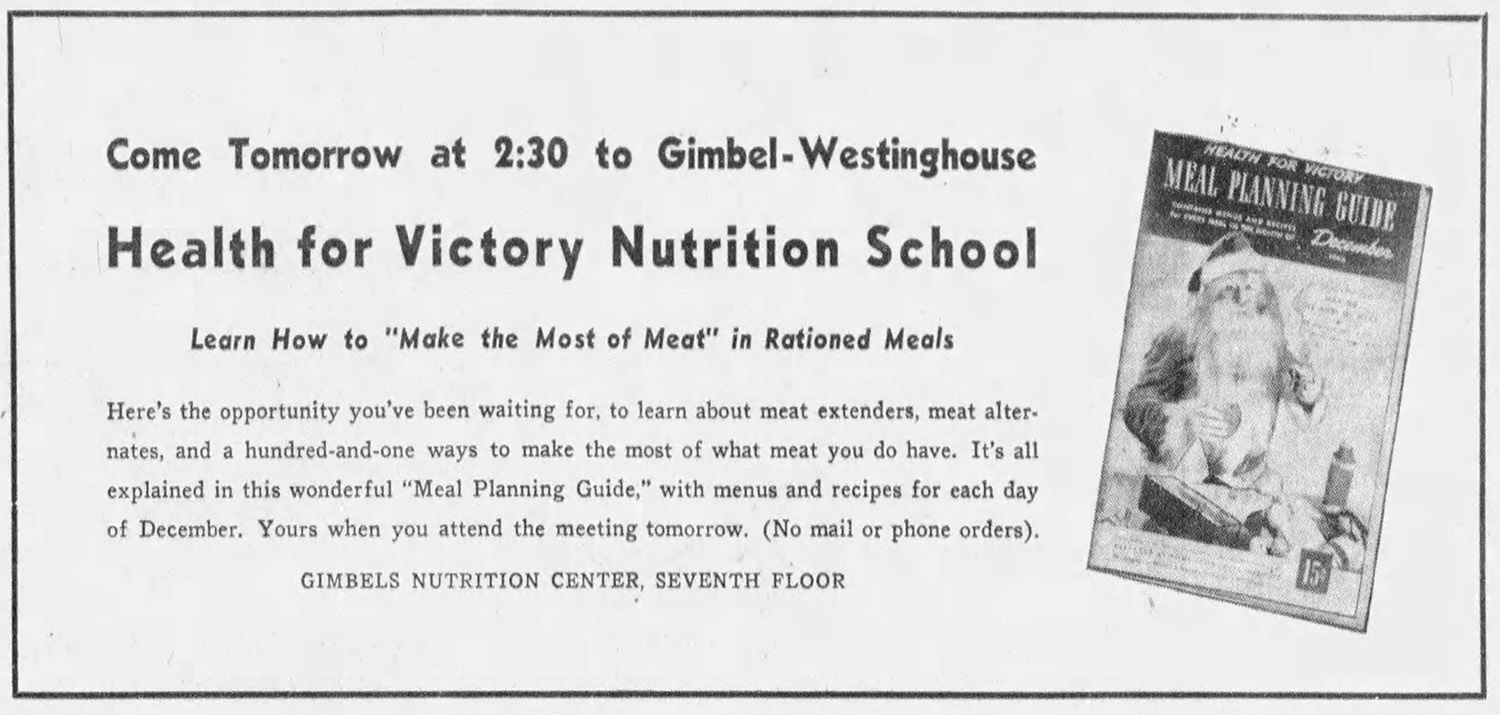 Advertisement for a Nutrition class at Gimbel's Department Store, 1943.