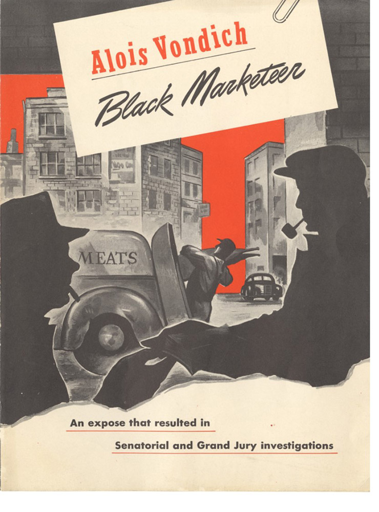 """Alois Vondich, Black Marketeer,"" cover of a flyer for the Pittsburgh Post-Gazette series, 1945."