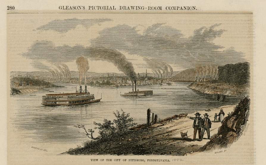 View of the city of Pittsburgh, 1852. By George T. Devereux.