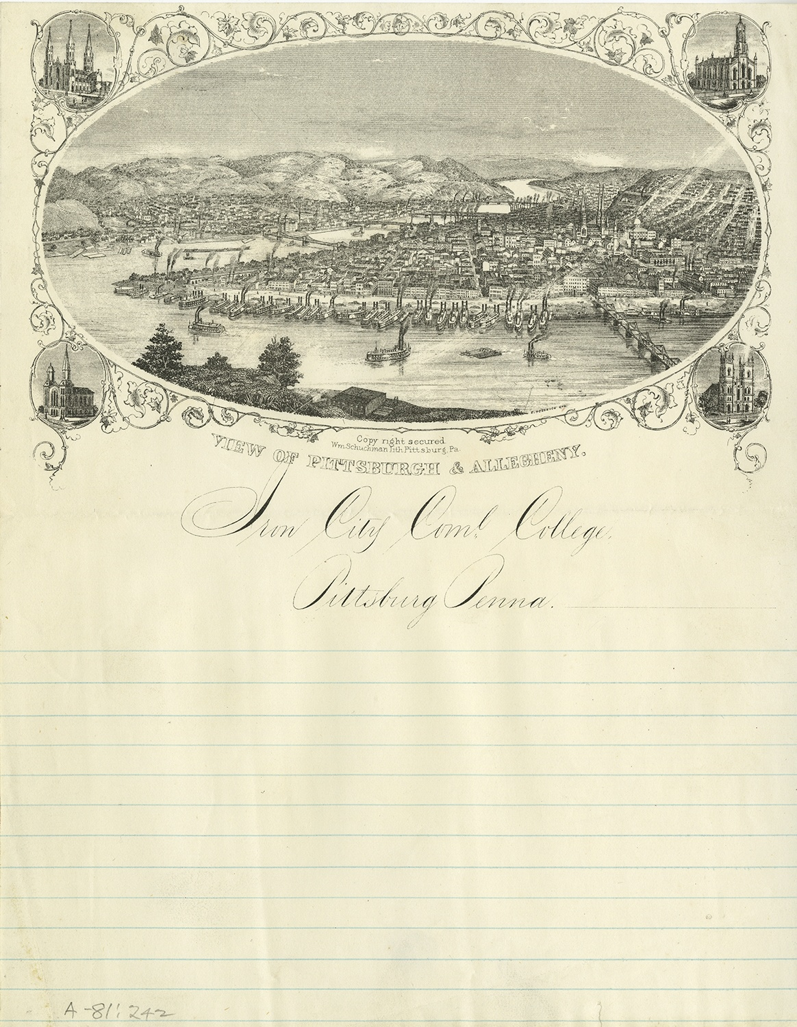 Letterhead for Iron City Commercial College, c. 1850s.