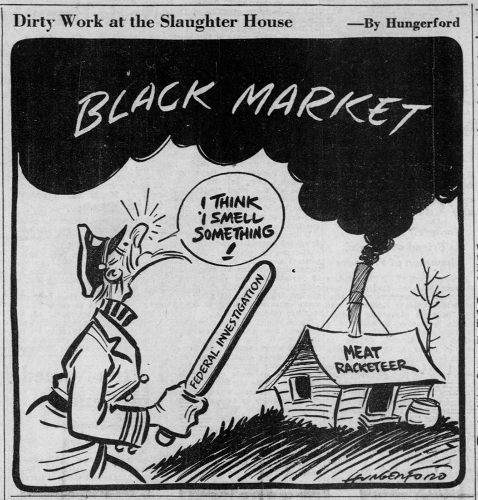 """Dirty Work at the Slaughterhouse,"" cartoon by Cy Hungerford, 1945."