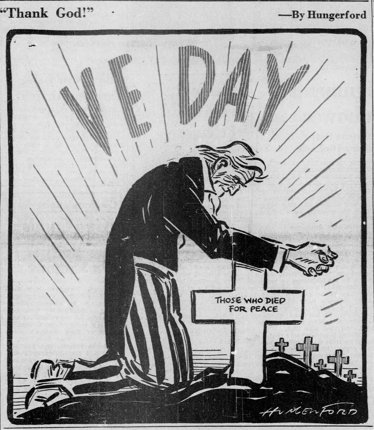 "Cy Hungerford, ""VE Day,"" Pittsburgh Post-Gazette, May 8, 1945."