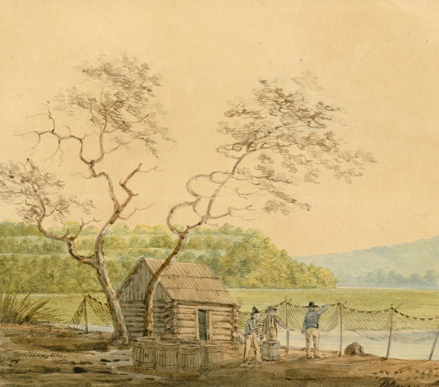 Benjamin Henry Latrobe, View from the Packet Wharf at Frenchtown Looking Down Elk Creek.