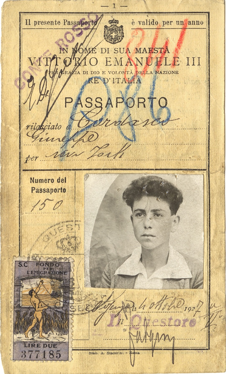 Giuseppe Cordasco's Italian passport, 1927. Gift of Mary Antol. Italian American Collection at the Heinz History Center.