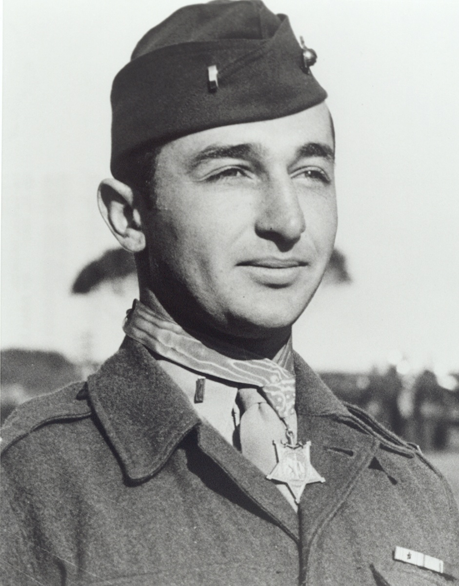 Mitchell Paige with his Medal of Honor, 1943.